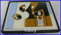 Vintage Modern Geometric Abstract Assemblage Painting Sculpture Signed Mack