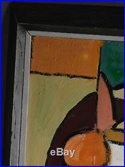 Vintage Modern Mid Century Cubist Abstract Painting Lee Levitt Asheville NC 60's