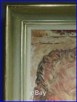Vintage Modern REalist OIl Painting Portrait POWERFUL Man Male Karl Schenk WPA