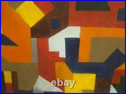 Vintage Modernist Abstract Oil On Panel Mid Century Painting signed R. B