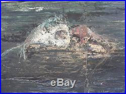 Vintage Modernist Abstract Painting Fish Signed