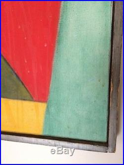 Vintage Modernist Cubist Style Oil Painting Mid-Century Modern Signed WIL 1965