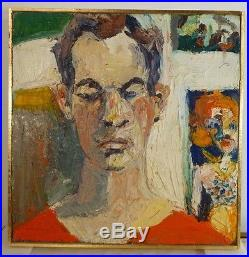Vintage NEO EXPRESSIONIST MODERNIST MALE FIGURE OIL PAINTING MID CENTURY Signed