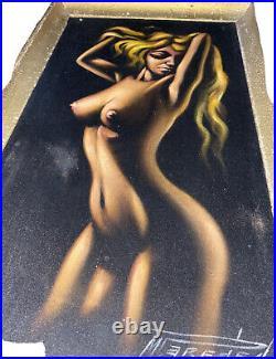 Vintage NUDE BLACK VELVET PAINTING woman lady mid century modern wall art SIGNED