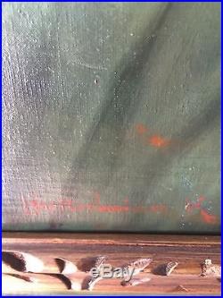 Vintage NUDE Oil On Canvas Painting Signed