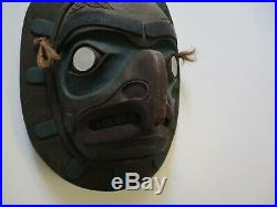 Vintage Native American Indian Mask Painting By Philip Thorn Signed Hawk 1970's