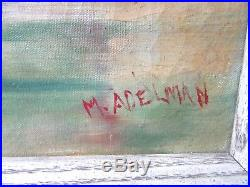 Vintage Nautical Maritime Oil Painting 1925 Seascape Tropical Boat Framed Signed