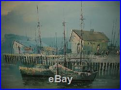 Vintage Nautical Oil Painting On Canvas-Signed Tio Como-Boats Water Docks Asian