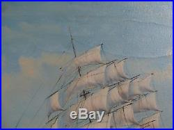 Vintage Nautical Seascape Tall Antique Sail Ship At Sea With Crew Signed Fulton