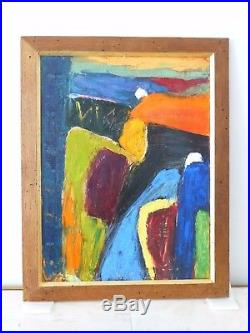 Vintage Neo Expressionist Oil Painting MID Century Modern Signed Freeman
