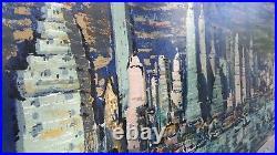 Vintage New York City Skyline Painting 1960s 70s Large Sofa Size Original Frame
