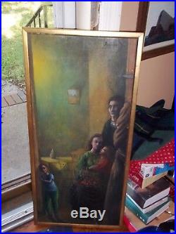 Vintage Noel Rockmore Painting Oil Figural Rare 1956 Mid Century Signed Framed