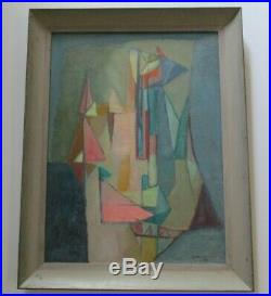 Vintage North MI Painting Abstract Expressionism Cubism Modernism Cubist Signed