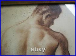 Vintage Nude Man Men Male Model Painting Vintage Signed Mystery Artist 1960 Mod