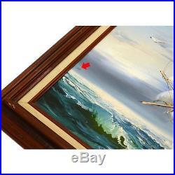 Vintage ORIGINAL ART Oil Painting on Canvas SIGNED C. MILLION Seascape CLIPPER
