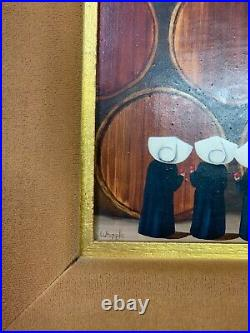 Vintage ORIGINAL Frank WHIPPLE Mid-Century Painting Wimples Nuns in Wine Cellar