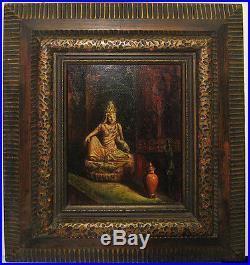 Vintage O/C of Buddha Figurine Signed Greenwood Listed British Artist