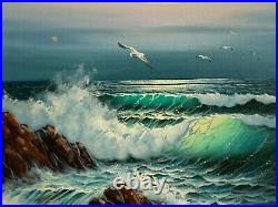 Vintage Ocean Waves Seascape Scene Painting on Canvas Signed Edward Park