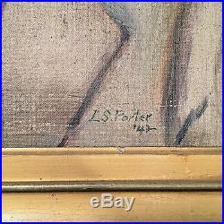 Vintage Oil Canvas Portrait Painting Elderly Man with Glasses L. S. Porter c1942