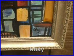 Vintage Oil On Canvas Abstract Modernist Cityscape signed Weiss 1974 Warehouses