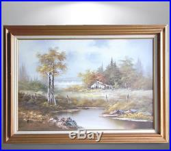 Vintage Oil On Canvas Painting 24x36 Original Landscape Lake Framed Art Signed