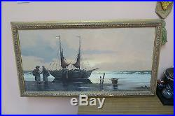 Vintage Oil On Canvas Painting Signed Martens Fishing Boats Framed 19 X 34