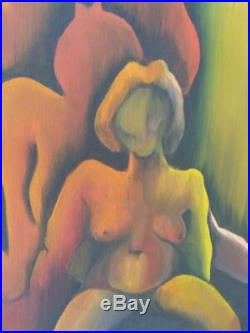 Vintage Oil Painting Abstract Nude Woman MCM Portrait Expressionist Mid Century