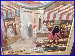 Vintage Oil Painting Arab Marketplace Signed & Framed