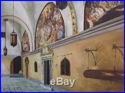 Vintage Oil Painting Christian Church in an Arab City Signed 1935