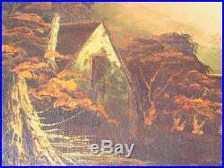 Vintage Oil Painting Country Landscape River & bridge Signed Mario Tavares