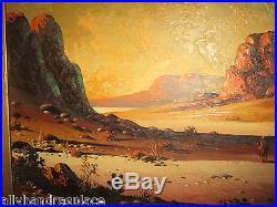 Vintage Oil Painting Desert Cowboy Landscape Signed Leo Sherman