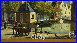 Vintage Oil Painting Dutch Canal Scene with Figures and Dogs by Duykers