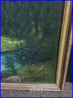 Vintage Oil Painting Landscape Signed Abraham Rosenthal 1937