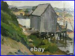 Vintage Oil Painting Martha's Vineyard Menemsha Harbor Lobster Shack & Boat