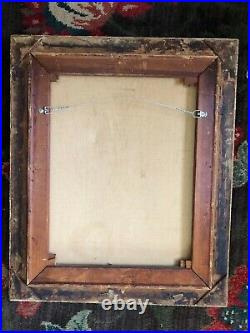Vintage Oil Painting Master Simpson Boy W Dog & Top Hat Gold Wood Frame