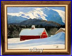 Vintage Oil Painting New England Stowe VT Red Barn Mountain Signed F Ramsay