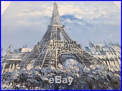 Vintage Oil Painting On Canvas Paris Eiffel Tower Artist Signed H. Vatev
