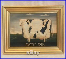 Vintage Oil Painting On Canvas, Signed, COW 1808 AMERICANA, Gold Frame 15x12