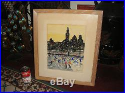 Vintage Oil Painting On Fabric-Rockefeller Plaza Ice Skating-Signed-New York Cty