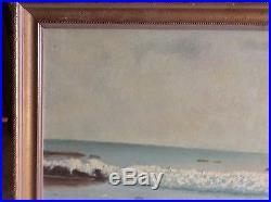 Vintage Oil Painting On Masonite Signed D Wennstram Seascape California Sunset