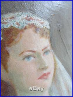 Vintage Oil Painting Portrait Woman on Canvas Mid Century Bride Wedding Gown