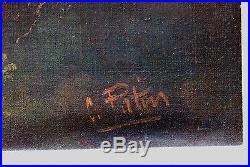 Vintage Oil Painting Signed C Patin Don Quixote Old Spanish Landscape 2 Horsemen