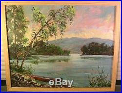 Vintage Oil Painting Signed Lake Mountain Landscape 50s Swanson