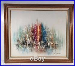 Vintage Oil Painting Signed ROY PIERCE Modern Abstract Harbor with Boats