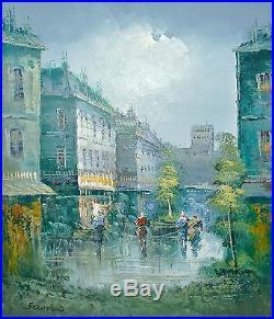Vintage Oil Painting Signed STANFORD Paris Street Scene