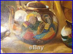 Vintage Oil Painting Signed Still Life Oriental Porcelain
