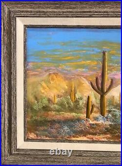 Vintage Oil Painting-Spring in the Desert-Yucca/Sunset-Landscape-Western Art