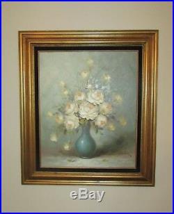 Vintage Oil Painting Wagner Roses in Vase Floral Framed numbered 48816