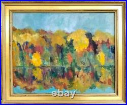 Vintage Oil Painting on Canvas Landscape Signed Deborah Patton Fall Foliage