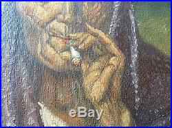 Vintage Oil Painting on Canvas, Older Woman Smoking Signed M Leal 1946